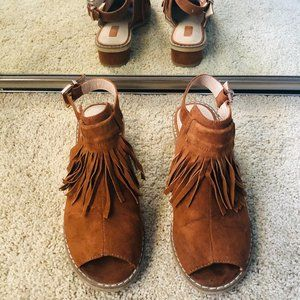 Topshop Fringe Open Toe Low Heel ~ Camel Color